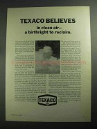 1968 Texaco Oil Ad - Belives In Clean Air a Birthright