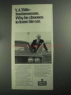1968 Chrysler Leasing System Ad - Y.A. Tittle