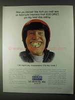 1999 Geico Cycle-Gard Motorcycle Insurance Ad - Smiling