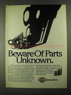 1991 Harley-Davidson Parts Ad - Beware of Unknown