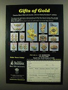 1987 Stamper Black Hills Gold Jewelry Ad, Gifts of Gold