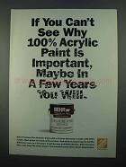 1996 Home Depot Behr Paint Ad - Why Acrylic Important