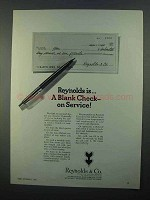 1968 Reynolds & Co Ad - A Blank Check On Service
