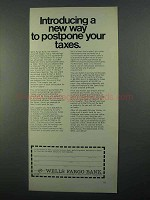 1968 Wells Fargo Bank Ad - Way to Postpone Your Taxes