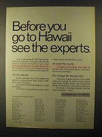 1968 American Express Ad - Before You Go To Hawaii