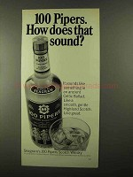 1968 Seagram's 100 Pipers Scotch Ad - How Does Sound
