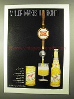1968 Miller Beer Ad - Miller Makes It Right