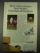 1968 Canada Tourism Ad - Your Guys Beat Our Guys