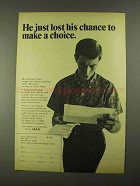 1968 U.S. Army Ad - Lost His Chance to Make a Choice