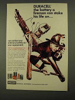 1968 Mallory Duracell Battery Ad - Fireman Stake Life