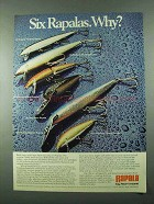 1975 Rapala Fishing Lure Ad - Floating, Magnum, Jointed