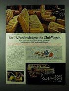 1975 Ford Club Wagon Ad - For '75, Ford Redesigns