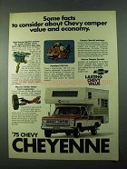 1975 Chevy Cheyenne Pickup Truck Ad - Deluxe Camper