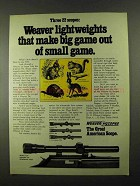 1974 Weaver D4, D6 and V22 Scopes Ad - Lightweights