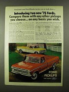 1975 Ford SuperCab & Heavy Duty 1/2-ton Pickup Truck Ad