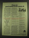 1972 Quaker State Motor Oil Ad - Clean Air Good Reason