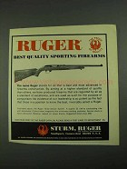 1972 Ruger 10/22 Deluxe Sporter Rifle Ad - Quality