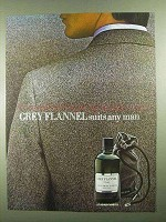 1981 Geoffrey Beene Grey Flannel Cologne Ad - Any Man