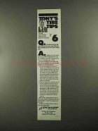 1988 Dunlop Tires Ad - Tony's Tire Tips No. 6