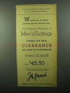 1943 John Wanamaker Men's Suits Ad - Our Low Prices