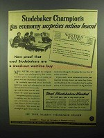 1943 Studebaker Champion Car Ad - Gas Economy