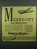 1943 American Airlines Ad - Mexico City and Monterrey