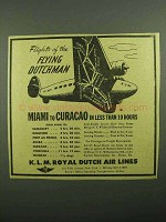 1943 KLM Royal Dutch Air Lines Ad - Flying Dutchman