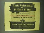 1943 Allegheny Ludlum Steel Ad - Timely Information