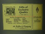 1943 A. Sulka Fashion Ad - Gifts of Exclusive Quality