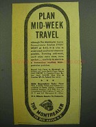 1943 New Haven Railroad Ad - Plan Mid-Week Travel