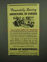 1943 Bank of Montreal Ad, Financially Serving Americans