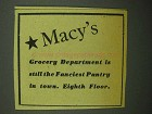 1943 Macy's Department Store Ad - Grocery Department