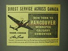 1943 Trans-Canada Air Lines Ad - Direct Service