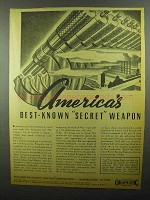1942 Williams Oil-o-matic Heating Ad - Secret Weapon