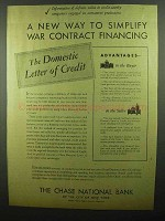 1942 Chase National Bank Ad - War Contract Financing