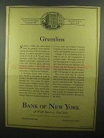 1942 Bank of New York Ad - Gremlins