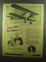 1942 Lycoming Aircraft Engines Ad - Won His Wings