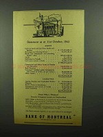 1942 Bank of Montreal Ad - Statement 31st October, 1942