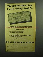 1942 Chase National Bank Ad - I Paid You By Check