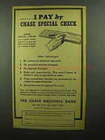 1942 Chase National Bank Ad - I Pay By Special Check