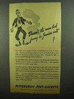 1942 Pittsburgh Post-Gazette Ad - Funny in Juniors Suit