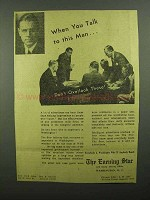 1942 The Evening Star Ad - When You Talk to This Man