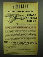 1942 Chase National Bank Ad - Bill-Paying Special Check