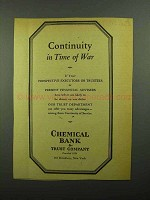 1942 Chemical Bank & Trust Company Ad - Time of War