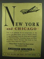 1942 American Airlines Ad - New York and Chicago