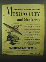 1942 American Airlines Ad - Mexico City and Monterrey!
