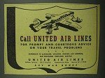 1942 United Air Lines Ad - Prompt and Courteous