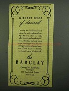 1942 The Barclay Hotel Ad - Without Lease if Desired