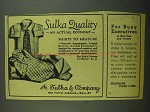 1942 A. Sulka Shirts Ad - Quality an Actual Economy