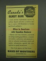 1942 Bank of Montreal Ad - Canada's Oldest Bank